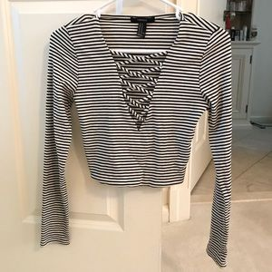 Striped long sleeve crop top with cross cuts
